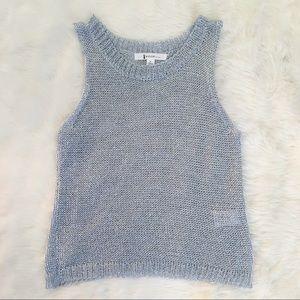 AGACI Silver Knitted See Through Tank Top